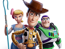 Bo Peep, Sheriff Woody, and Buzz Lightyear. Disney & Pixar Toy Story 4.