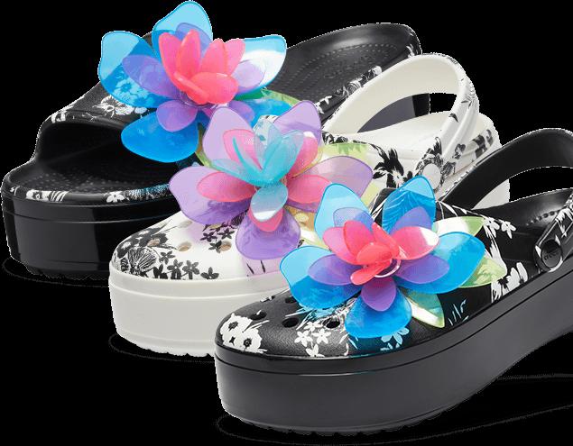 Crocband™ Platform Hyper Tropic Slide, Black; Crocband™ Platform Hyper Tropic Clog, White; & Kids' Crocband™ Platform Hyper Tropic Clog, Black.